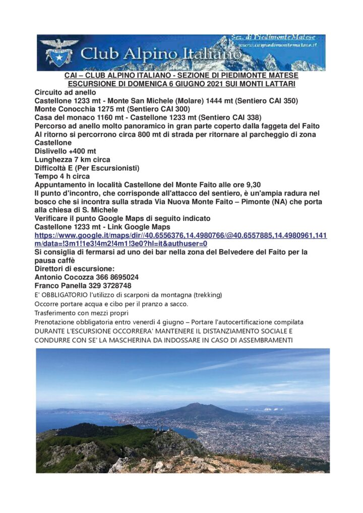 Domenica 06/06/2021 - Escursione Monti Lattari