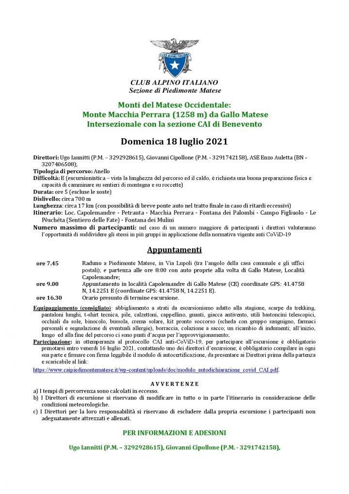 Domenica 18/07/2021 - Monte Macchia Perrara