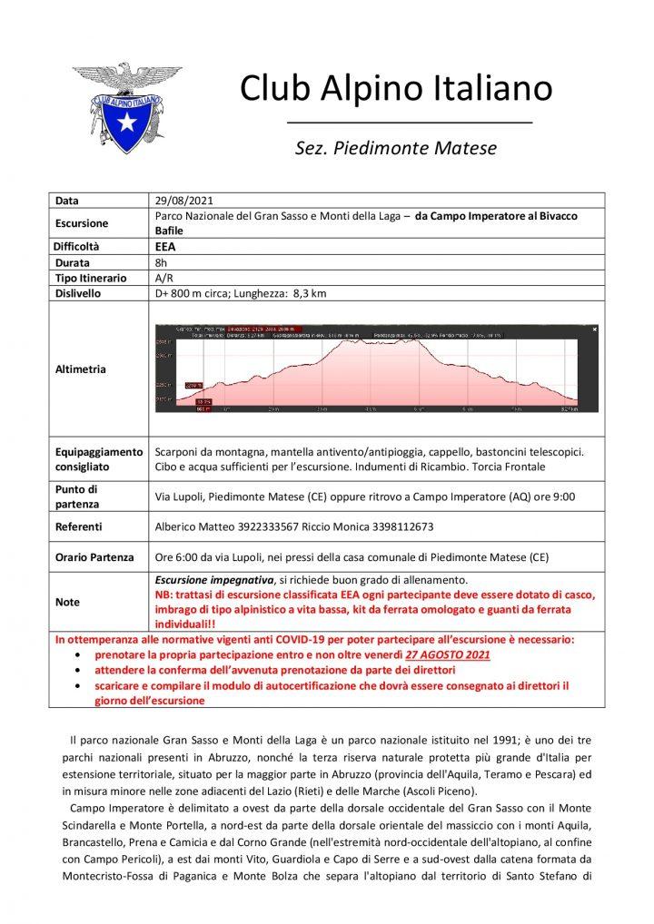 Domenica 29/08/2021 - Parco Nazionale del Gran Sasso e Monti della Laga