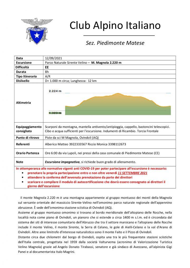 Domenica 12/09/2021 - Parco Naturale Sirente Velino - M. Magnola 2.220 m